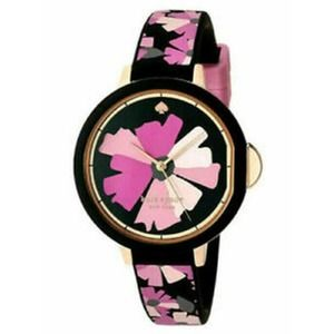 Kate Spade Pink & Black Floral Silicone Watch NWT